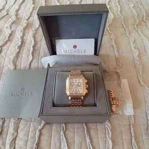 Rare MICHELE Rose Gold Diamond Chronograph